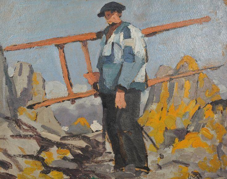 """Mathurin Méheut (1882-1958), """"Goémonier de Roscoff"""", huile sur carton, circa 1913"""