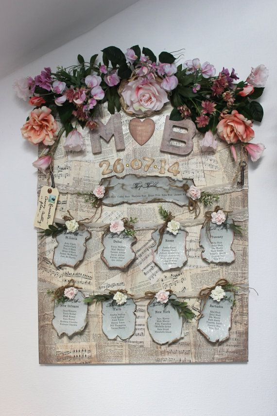 Canvas wedding seating plan Vintage antique by LotusBluBookArt, £120.00