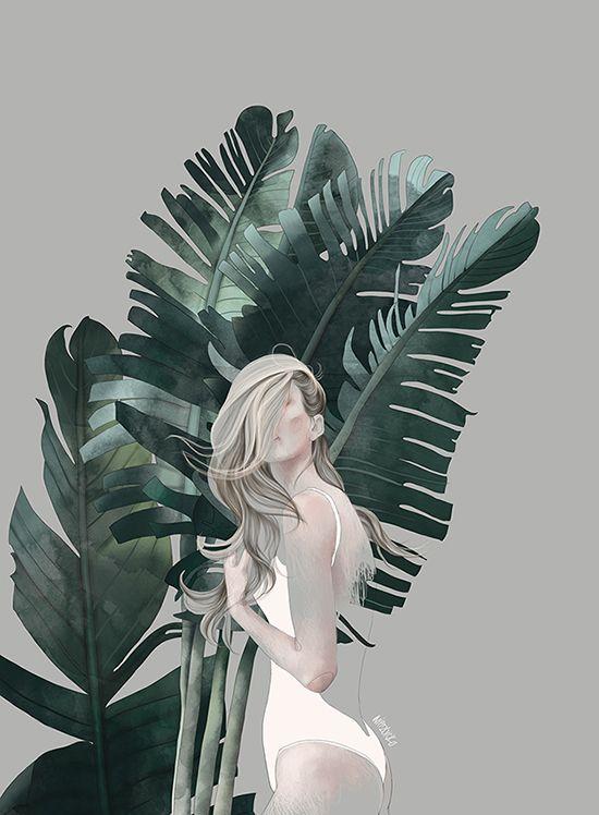 Illustration-foliage, woman, fashion