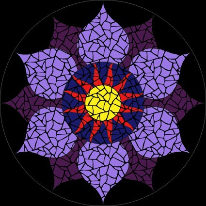 Completed Mindseye chakra mosaic mandala kit created in ceramic tiles Design by Brett Campbell Mosaics