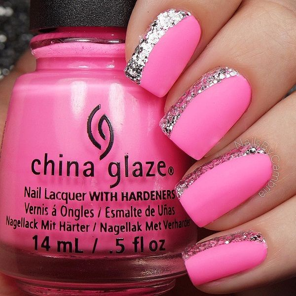 Set a statement with this hot pink nail art design. Using crumpled foil as the metallic side of the design, hot pink polish is used to intensify the look and give off a vibrant vibe from the nails.