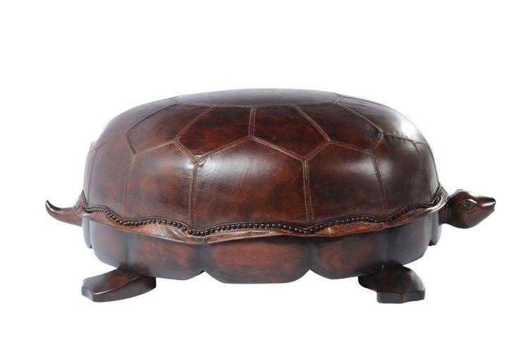 Leather Turtle Ottoman Large Sized Vintage Leather