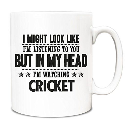 Black I Might Look Like Im Listening But In My Head Im Watching Cricket Mug 151