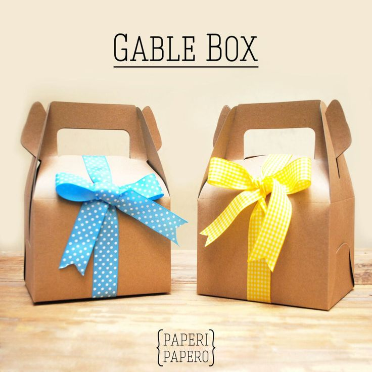 Kraft Gable Box with a lovely ribbon, very suitable for every occasion.