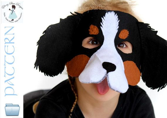 You can make your own cute and friendly dog mask with our pattern and just a few pieces of felt and some hat elastic! Soft felt conforms to the face