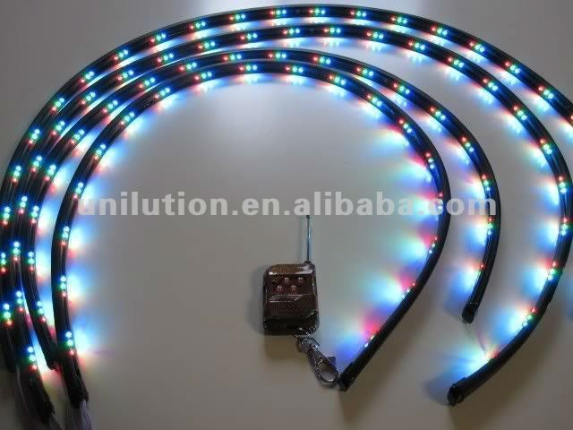 car strobe light kits  1.with remote and controller   2. 3color-red,blue,green. Seven flashing mode.  3.2*60+2*90,2*90+2*120