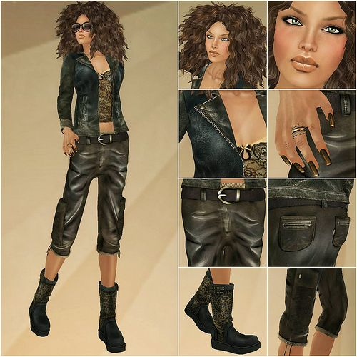 NEW !!! LEATHER VINTAGE JACKETS AND LEATHER CARGO PANTS FOR COOL GIRLS ! http://maps.secondlife.com/secondlife/Deep%20House%20Island/175/31/21