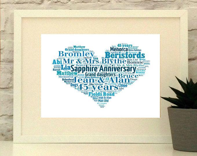 Sapphire Wedding Anniversary Personalised Heart Print