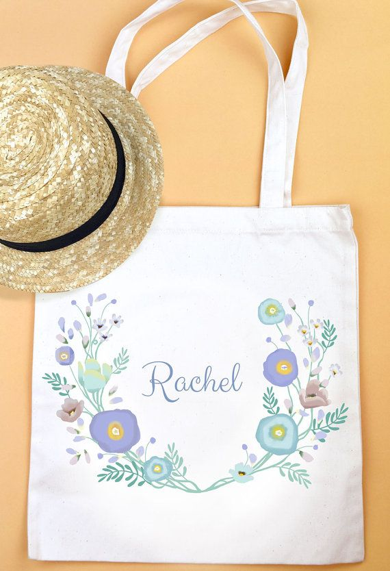 A white cotton tote bag feature my illustration of flowers flowers and flowers.  you can have any words on this tote bag,maybe your