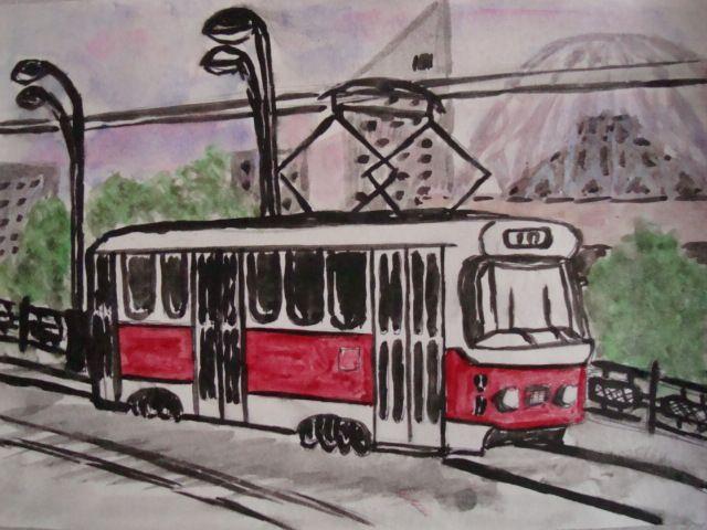 Свердловский трамвай. акварель