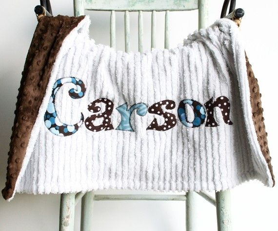 Monogrammed Baby Blanket in RAINDROP, Brown Minky and White Chenille, Personalized with Your Baby Boy's First Name in Designer Fabric on Etsy, $75.00