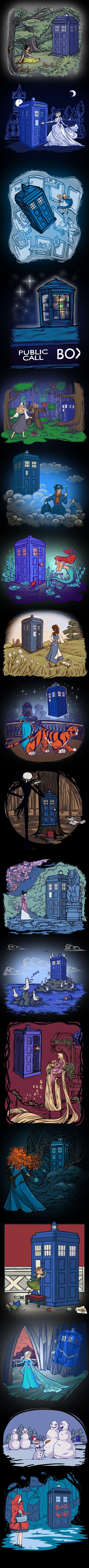 Karen Hallion Disney Doctor Who mashups on TeeFury I need all of these