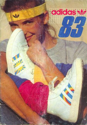 1980s •~• vintage Adidas ad for rainbow & sun sneakers, 1983