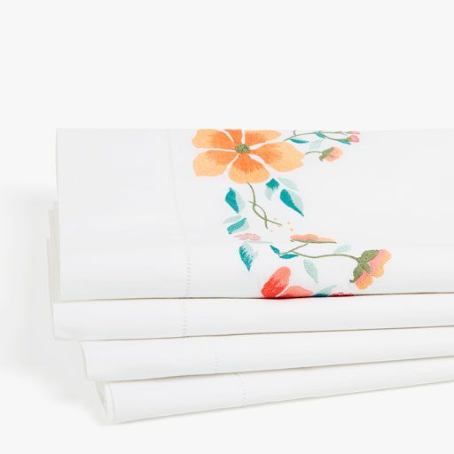 Multicoloured Embroidered Floral Pillow Cases/Sheets/Duvet Cover