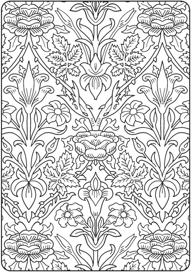 Creative Haven Deluxe Edition Elegant Art Nouveau Coloring Book @ Dover Publications