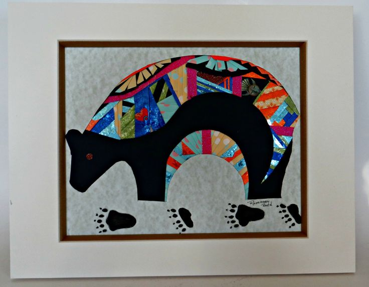 Southwestern Art  Bear Matted and Ready for Frraming Paper Collage by FabulousFunFashion on Etsy