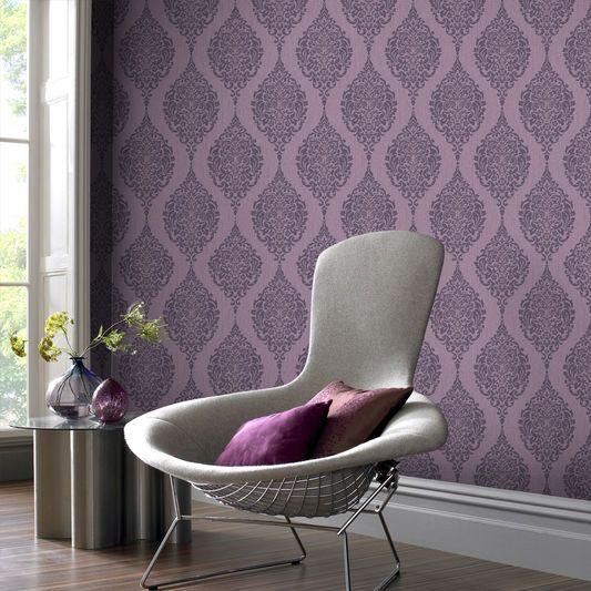 Graham and Brown Luna Plum Wallpaper, , large