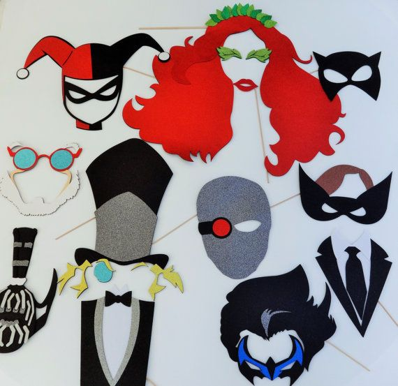 Super Hero Party Batman Inspiered  Photo Booth Party Props Pinguin Ridler Batman Joker