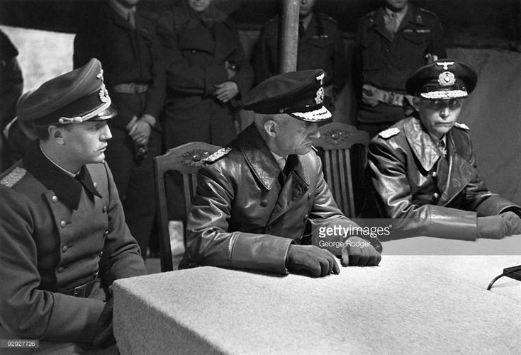 General Admiral Hans-Georg von Friedeburg (1895 - 1945, right) visits the British camp on Luneburg Heath to sign the Instrument of Surrender of the German armed forces in Holland, north-west Germany and Denmark at the end of World War II, 4th May 1945.