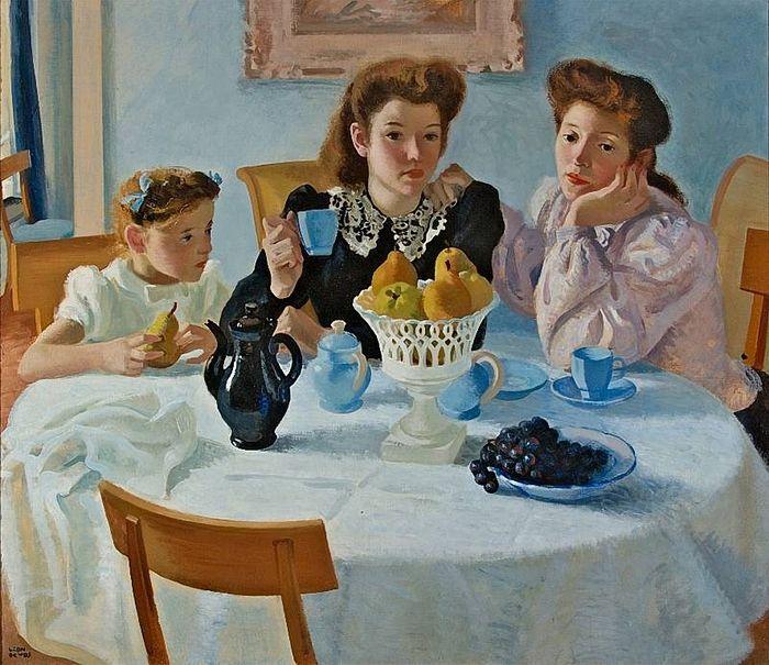"Léon Devos (Belgian, 1897 – 1974) - ""Intimacy"", circa 1945:"