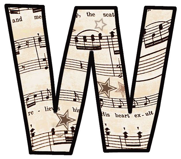 "ArtbyJean - Vintage Sheet Music Alphabet ""W"""