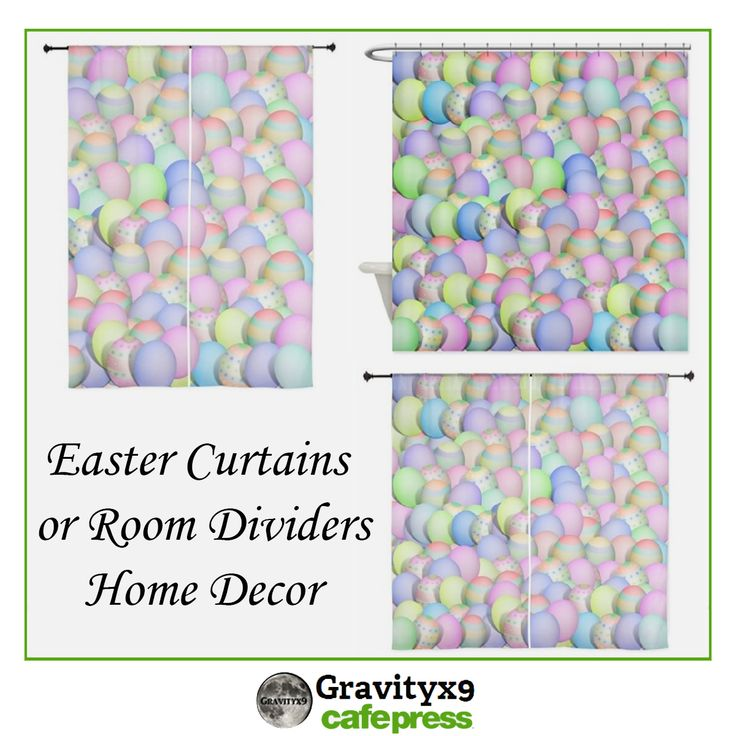 Pastel Colored Easter Eggs ~ Home Decor for Easter ~ Shower Curtains, Window Curtains or use as room dividers. Designed by #Gravityx9 at #Cafepress. Click through to see the variety of #homedecor and #EasterGifts ~ #Easter #EasterDecor #eastereggs #coloredeggs