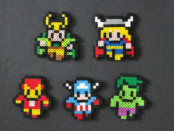 This is for 1 Avengers perler bead sprite. Approx 3 tall. They make great magnets. Choose between Loki, Thor, Iron Man, Captain America, Hulk, or