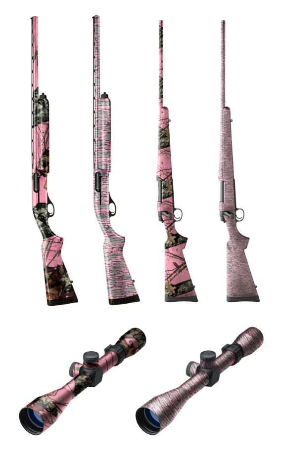 Pink Mossy Oak Gun and Scope Skins! This would be neat so the husband and I could tell our shotguns apart. But probably not effective for duck hunting.