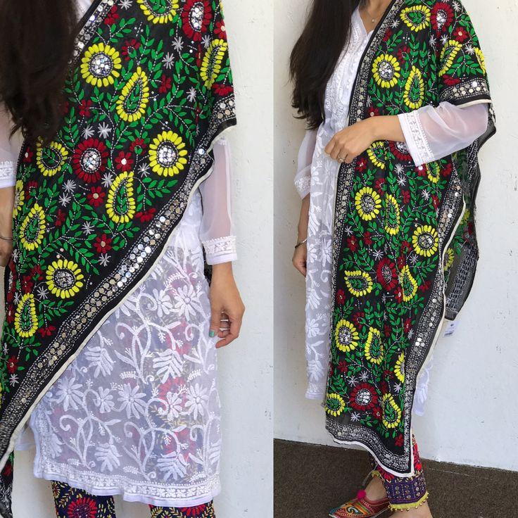 Buy Online Phulkari Stole, Phulkari Pants, Chikankari Kurta. www.pinkphulkari.com