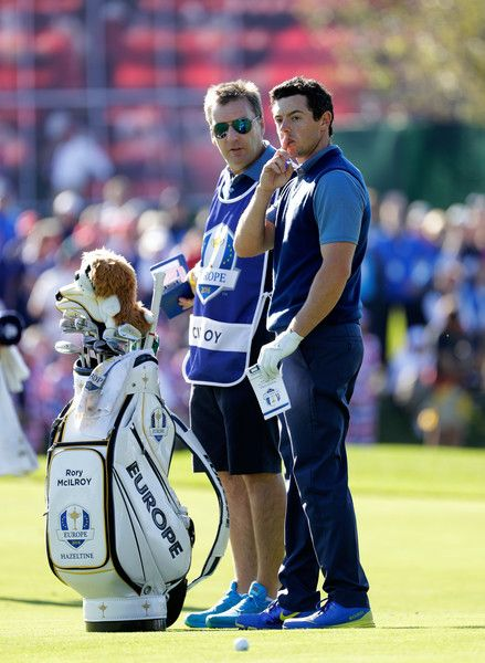 Rory McIlroy of Europe gestures to the crowd on the 11th hole during afternoon fourball matches of the 2016 Ryder Cup at Hazeltine National Golf Club on September 30, 2016 in Chaska, Minnesota. - 380 of 595