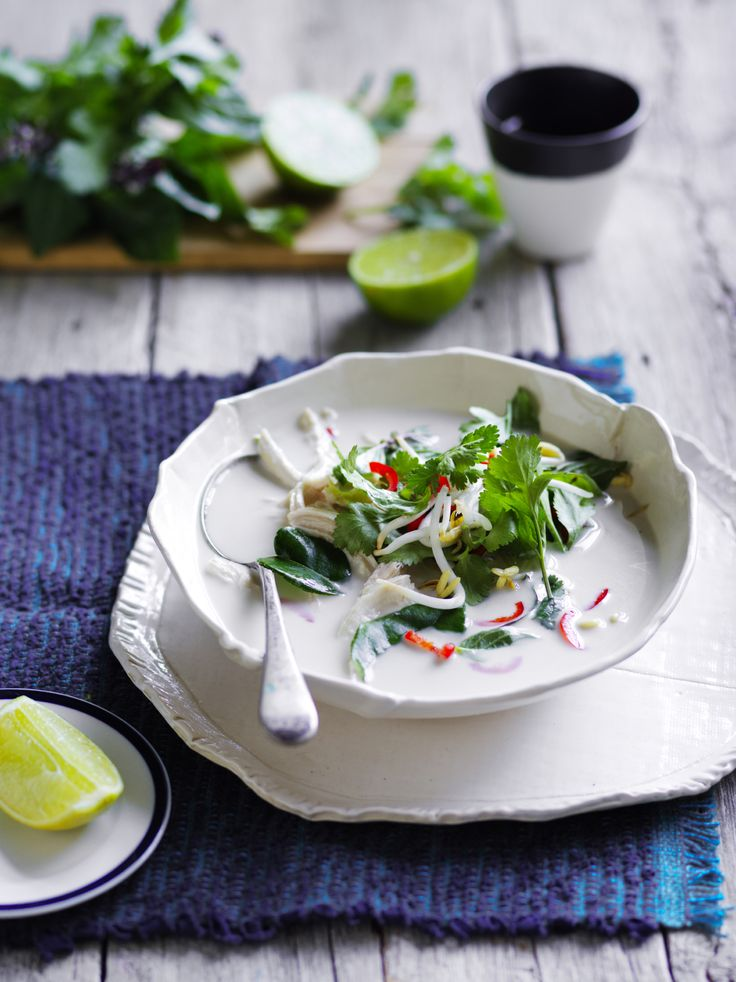 Tangy lime and creamy coconut chicken soup is full of divine Asian flavours.