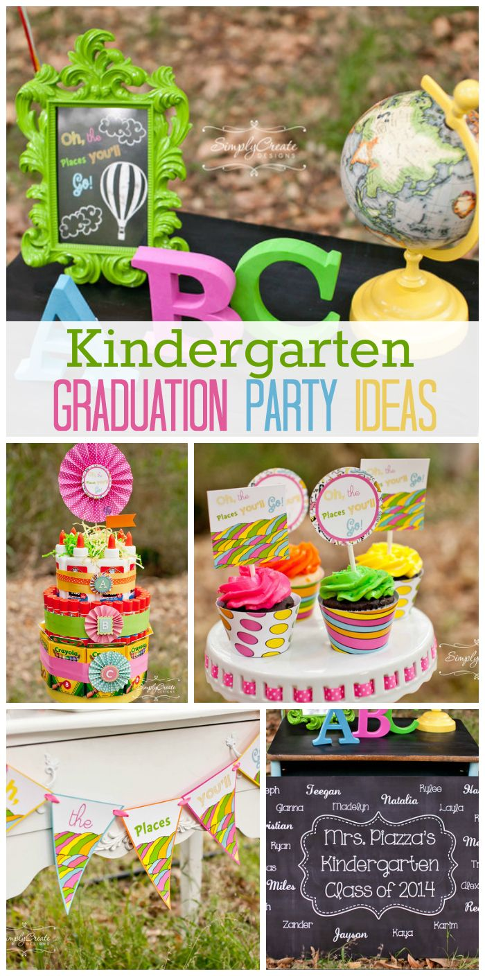 "A colorful and fun kindergarten graduation party with a Dr. Seuss theme ""Oh, The Place You Will Go!""  See more party ideas at CatchMyParty.com!"