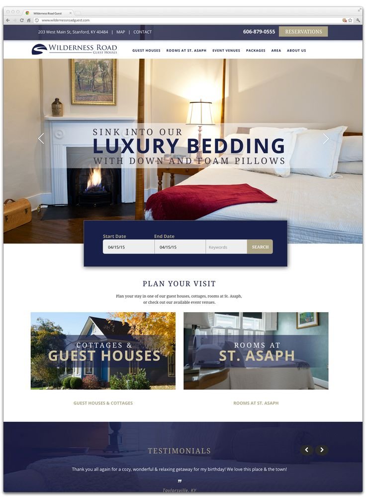 Website for Wilderness Road Guest houses. Online booking system.