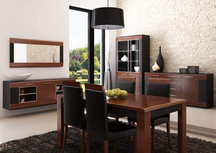 Vievien łączy klasyczną kolorystykę litego dębu barwionego na koniak z nowoczesnym laminatem w czarnym macie. Fuzja kontrastowych wykończeń idealnie prezentuje się zarówno w salonie jak i jadalni. #meble #szynakameble #furniture #wood #drewno #inspiracja #zainspirujsie #inspiration #jadalnia #diningroom