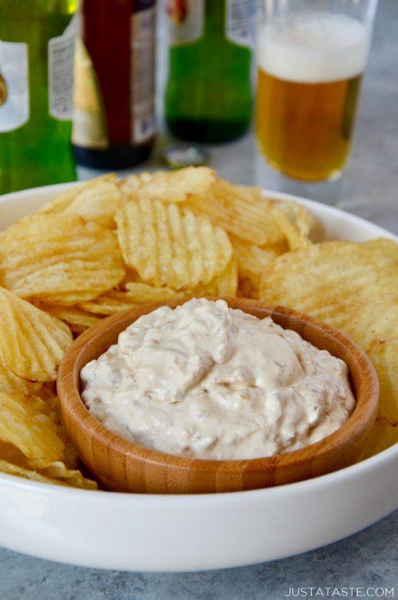 Homemade Sour Cream And Onion Dip With Potato Chips On Serving Tray Homemade Sour Cream Sour Cream And Onion Dip Recipe Chip Dip Recipes