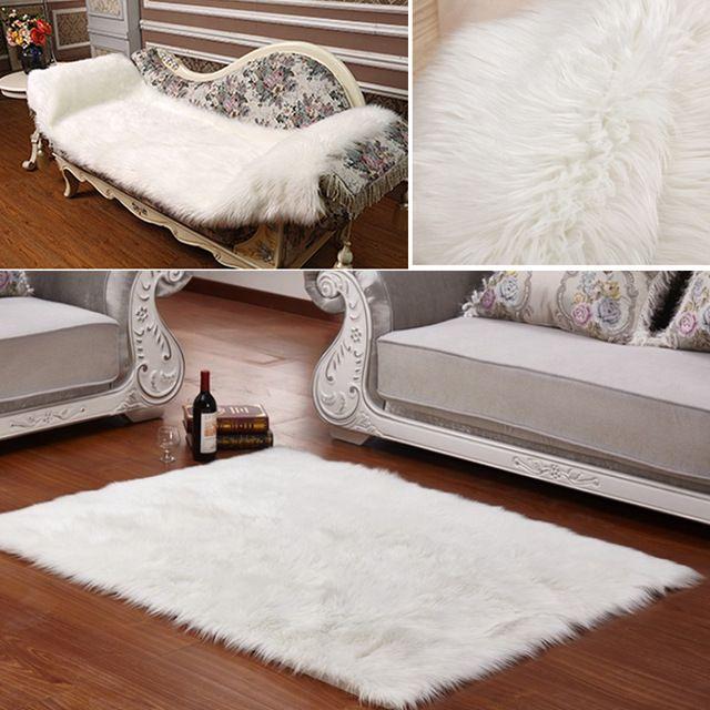 Longo da pele do falso artificial pele retângulo macio assento da cadeira sofá capa carpet mat área tapete sala de estar quarto decoração da casa branca