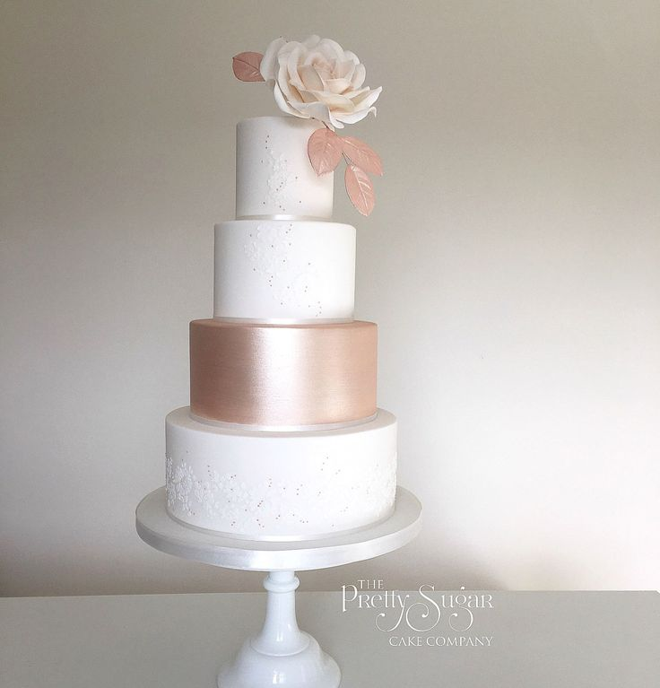 Rose gold lustre, delicate lace and rose gold bead detail wedding cake
