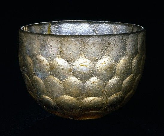 Bowl, thick, colorless glass, facet-cut Iran or Iraq; 6th-7th century