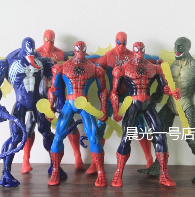 Бесплатная доставка комический герой книги удивительный человек паук игрушки, ящерицы доктор злодей яд 7-дюймовый фигурку может быть излучает свет полный 6