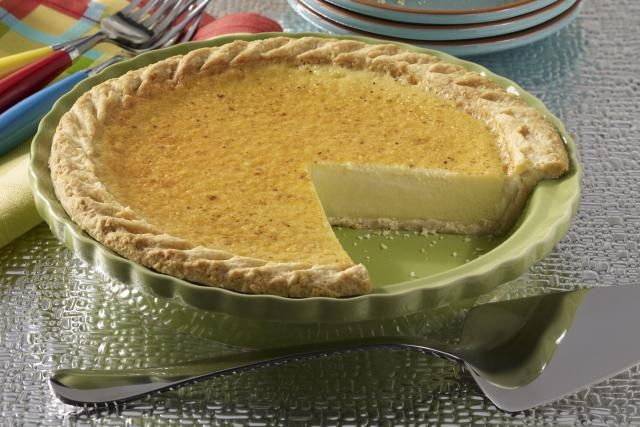 This delicious classic custard pie is sprinkled with nutmeg before baking.
