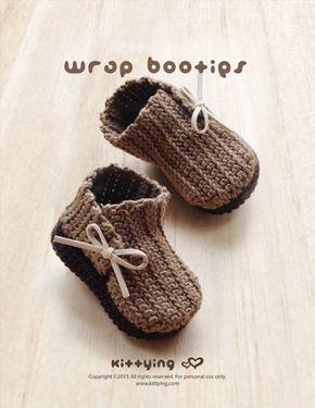 CROCHET PATTERN – Wrap Baby Booties Newborn Boots Preemie Shoes Crochet Pattern (WB02-B-PAT)