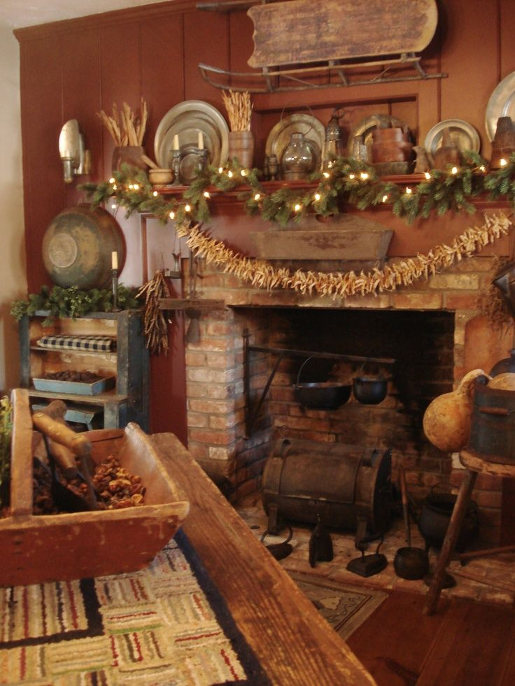 Primitive Christmas Decorated Fireplaces | Found on aprimitiveplace.org