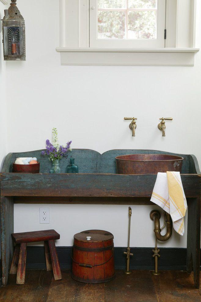 Photo Gallery In Website cool bathroom vanities Powder Room Rustic with copper bowl sink copper