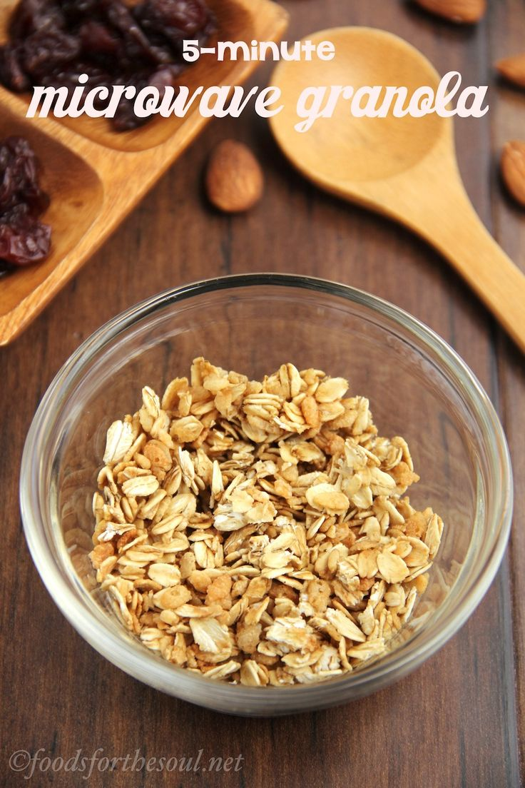 The easiest granola recipe ever! Only 4 ingredients and made in the microwave. Healthy, light, + clean eating too!