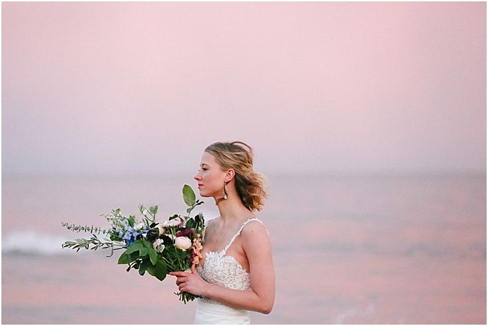 Sunset bridal session on the water. Coast bride. Beach wedding inspiration. Mignonette Bridal gown and Verdant company bridal bouquet. Knoxville and destination wedding photography www.leahmoyers.com