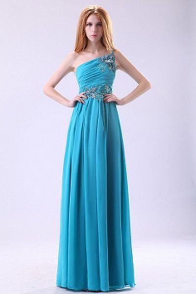 Blue Chiffon One-shoulder Party Dress - Order Link: http://www.theweddingdresses.com/blue-chiffon-one-shoulder-party-dress-twdn2303.html - Embellishments: Applique , Draped; Length: Floor Length; Fabric: Chiffon; Waist: Natural - Price: 157.67USD