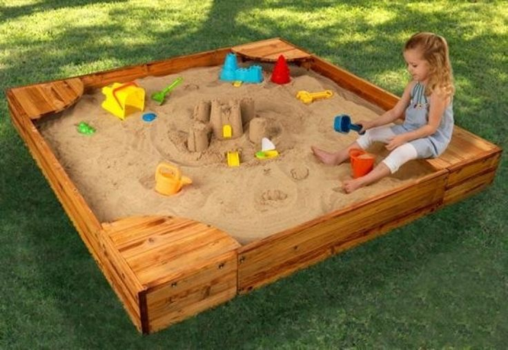 childrens sandbox with his own hands