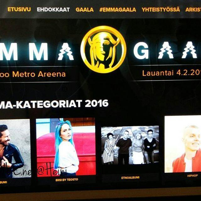 EMMA GAALA, Espoo Metro Areena 4.2.2017 SUORA TV LÄHETYS, TV4. Klo 20 - VOITTAJAT&PALKINNOT jaetaan tänään, 2016 Vuoden aikana ansioituneet, Taiteilijat&Muusikot, Musiikki julkaisuja ja musiikkialan Ammattilaisia. SEURAAN&Tykkään. SUOSITTELEN Lämpimästi...Onneksi olkoon Kaikki Ehdokkaat&Tulevat voittajat&menestytä Tulevalle Elämälle.  Tykkään, NÄHDÄÄN HYMY @nelonen.fi #tv #musiikki #muusikot #artisti #kotimainen #palkinnot #ehdokkaat #voittajat #taiteilijat #emma #emmagaala #emmagaala2...