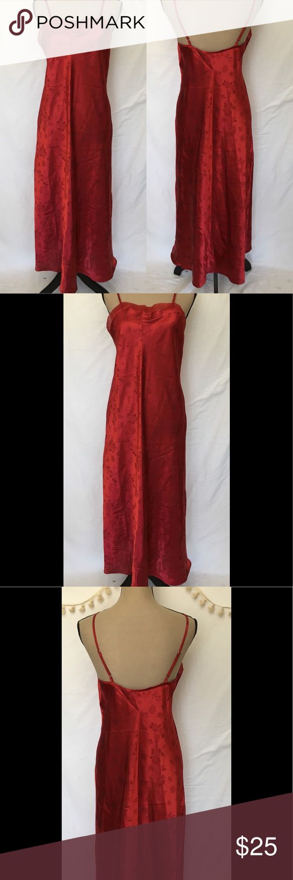 "Red Satin Chiffon Asian Patterned Gown Lingerie Red Satin Chiffon Asian Patterned Gown Lingerie Nightgown Womens Medium  Jaclyn Smith Intimates- New with tags  100% Polyester  Adjustable straps  Asian theme imprinted fabric  MEASUREMENTS — LENGTH 49"" UNDERARM TO UNDERARM 18"" HIPS 46"" all around Intimates & Sleepwear Pajamas"