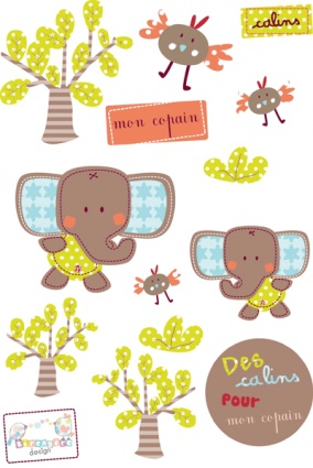 Pegatinas Mi pequeña Compañía. Incluye pegatinas de 2 elefantes, 3 árboles, hojas, pajaritos, entre otros. Puedes coordinarlas también con el medidor adhesivo Mi pequeña Compañía.